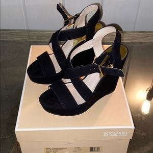 Micheal Kors suede strappy wedges